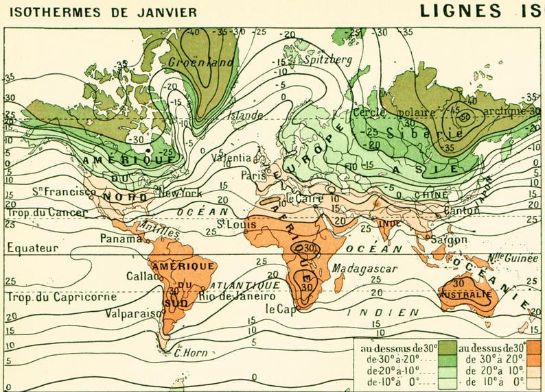 Carte du Climat Grand format 19ème 2 plan carte