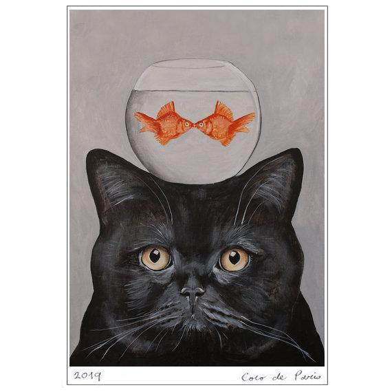 Poster Imprimé chat et poissons 5 il 570xN.2128615285 9brn 1
